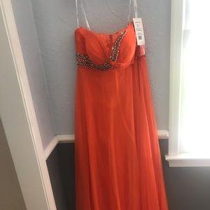 A orange prom dress